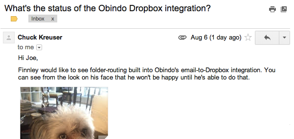 Send any email to Dropbox with Obindo